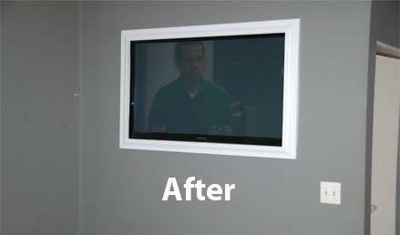 recessed flat screen installation after